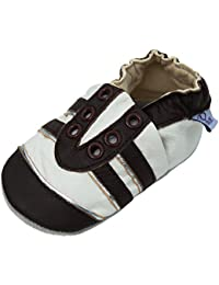 Lappa.de - Zapatillas de piel para niños (suela de ante, tallas de la 19 a la 31), diseño deportivo, color marrón y plateado