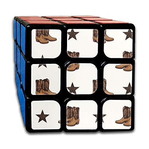 Cowboy Boots Brown On Cream Magic Speed Cubes Sets 3x3x3 Puzzles Toys Solid & Durable (56mm) -