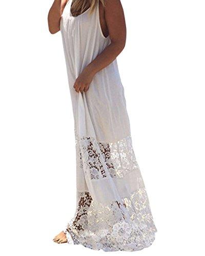 ZANZEA Donna Copricostume Vestito Lungo Pizzo Spiaggia Abito Maxi Floreale Casual Largo Sexy Elegante Cotone Senza Manica Bianco