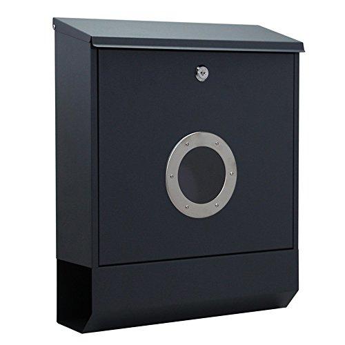 LZQ Design-Briefkasten Gebürstetes Edelstahl Postkasten mit Zeitungsfach, Anthrazit (RAL-7016) Postkasten, Wandbriefkasten Postkasten, Zeitungsrolle (A Type)