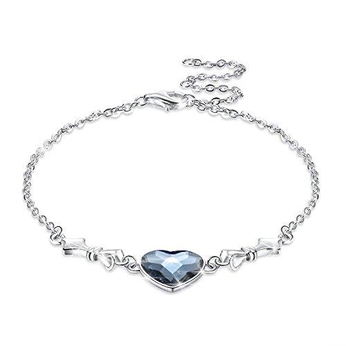 KOLOVEADA Armband Frauen Silber Blau Armbänder für Damen Herz Armband Echt 925 Silber Armband LEKANI Kristall von Swarovski, Armkette Silber Damen Schmuck Charm Armband Einstellbar mit Geschenkbox