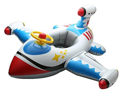 Lukis Baby Kleinkinder Schwimmsitz Babysicherheitsring Aufblasbare Flugzeug Schwimmenring 100cm Weiß