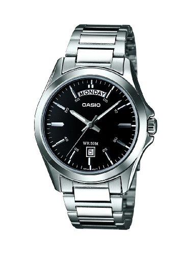 Casio-mtp-1370d-1a1vef-Standard-Armbanduhr-Quarz Analog-Zifferblatt schwarz Armband Stahl Silber