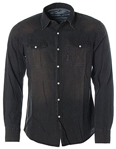 Kitaro Herren Langarm Hemd Kentkragen -Urban Street Style- Black Denim