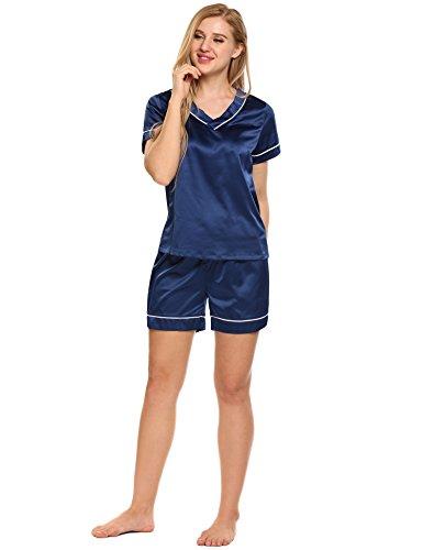 cooshional Donna Pigiama Set Satin In Maniche Corte Giacca+Shorts Corti Vita Elastica blu scuro.