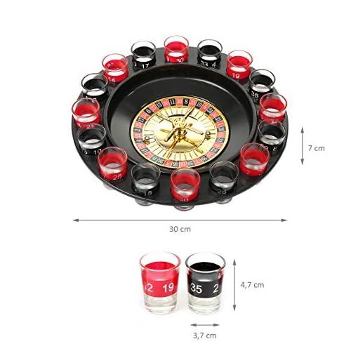 Wellgro-Trinkspiel-Roulette-mit-1-Roulette-Rad-16-Schnapsglser-und-2-Spielkugeln-Party-Spa-bei-dem-der-Zufall-entscheidet