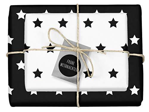 """4x zweifarbiges Geschenkpapier\""""Weihnachten: Sterne schwarz-weiß\"""" + 4x Anhänger\""""edel, silber-schwarz\"""" (doppelseitige Bögen DIN A2, Öko-Recycling-Papier)"""