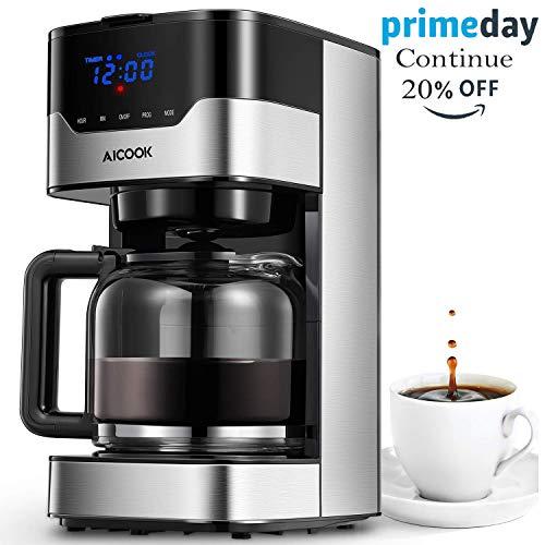 Aicook Kaffeemaschine mit Timerfunktion, Programmierbarer Filterkaffeemaschine Einstellbare Kaffeekonzentration, Anti-Drip-Funktion, Touchscreen, Dauerfilter, 900 W, Schwarz (Kaffeemaschine Programmierbare)