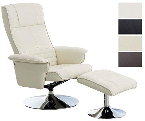 CLP TV Stuhl ELESTRIA mit Kunstlederbezug, Fernsehsessel mit verstellbarer Rückenlehne, Relaxsessel, Sessel mit Hocker, Fernsehstuhl, Chefsessel mit Armlehne Creme