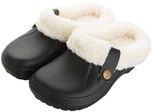 Yooeen Damen Clogs Gefüttert Herren Winter Hausschuhe Wasserdicht Warme Pantoffeln Plüsch Pantoletten Rutschfeste Outdoor Winterschuhe