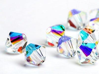 Glasperlen zum Auffädeln von Swarovski Elements Doppelkegel  6mm   (Crystal-AB), 48 Stück - 6mm Crystal Swarovski Bicone