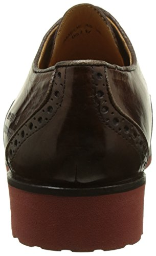 Melvin & Hamilton Amelie 48, Scarpe Strié Derby Donna Multicolore (croûte Dark Brown \\ Finition Dorée Bronze French Rook D Rouge)