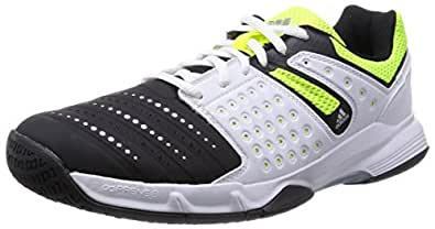 adidas Court Stabil 12, Chaussures de Handball homme, Noir (Core Black/Silver Metallic/Solar Yellow), 42 2/3