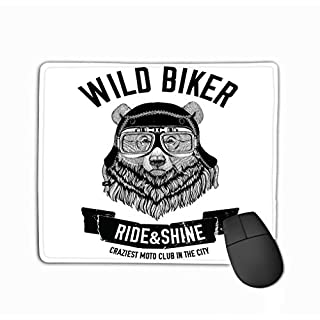 Gaming Mouse Pad Oblong Shaped Mouse Mat 11.81 X 9.84 Inch Vintage Images Grizzly Bear Design Motorcycle Bike Motorbike Scooter Club aero Club Hand Drawn Image