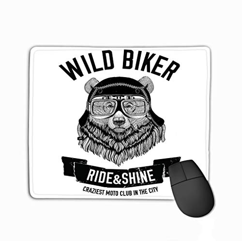 Non-Slip Thick Rubber Large Mousepad 11.81 X 9.84 Inch Vintage Images Grizzly Bear Design Motorcycle Bike Motorbike Scooter Club aero Club Hand Drawn Image -