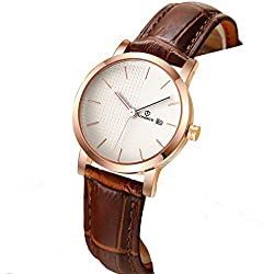 Ladies leather strap watch/Waterproof quartz watches/Simple students watch calendar-A