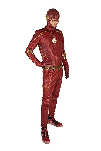 4 Kostüm Seasons - Pandacos The Flash Kostüm Season 4 Cosplay Costume 5er Set Leder Rot Film Zubehör für Halloween, Karneval und Fasching