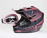 Qtech Casque de Moto pour Enfant avec Lunettes de Protection Motocross Cross Noir Mat...