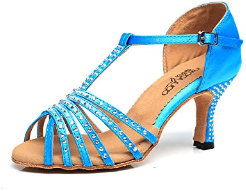 JSHOE Femmes Closed Toe Talon Haut PU Cuir Paillettes Paillettes Paillettes Salsa Tango Ballroom Chaussures De Danse Latine,E-heeled7.5cm-UK7.5...B0794VL86RParent 520676