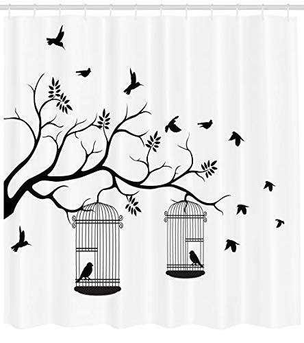 Abakuhaus Natur Duschvorhang, Vögel Fliegen in Käfige, Seife Bakterie Schimmel und Wasser Resistent inkl. 12 Haken und Farbfest, 175 x 220 cm, Schwarz-weiß