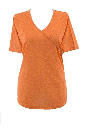 adonia mode T-Shirt Tunikashirt Kurzarm Wickel-Optik , Gr.44/46 - 48/50 Orange
