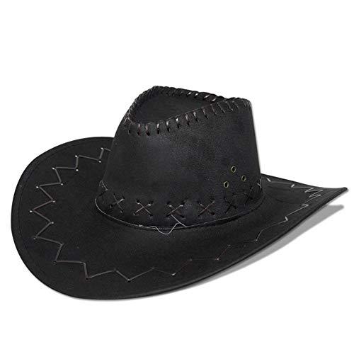 GYD Cowboy Hut Schwarz für Erwachsene Wildlederoptik Western Kostüm