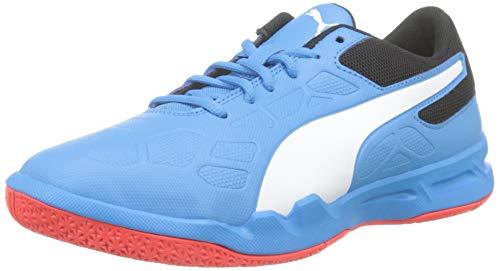 PUMJV #Puma Tenaz Jr, Scarpe da Calcetto Indoor Unisex-Bambini, (Bleu Azur White-Puma Black-Red Blast 06), 2.5 EU