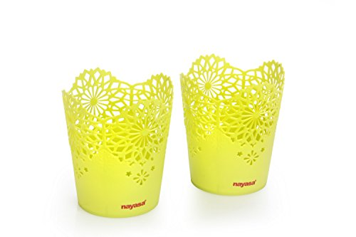 Nayasa Lacy 2 Piece Plastic Tall Basket Set, Green