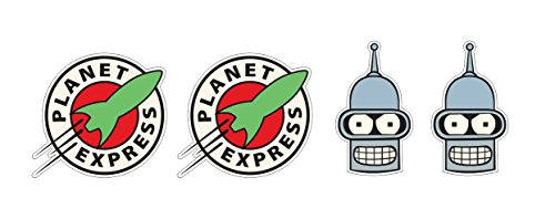 4 Aufkleber Planet Express / Bender Roboterkopf Roboterhead Rakete Nasa Space Ship Apollo Animation Aufkleber Sticker / Plus Schlüsselringanhänger Kokosnuss-Schale / Auto Motorrad Laptop Notebook - Express Computer