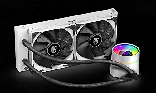 DeepCool Castle 240 Ex Weiß Kühlsystem Anti-Leak-Heizkörper 240 mm Kühlkörper RGB Rainbow Addressable 5V ADD RGB 3-Pin kompatibel mit Intel 115X/2066 und AMD TR4/AM4