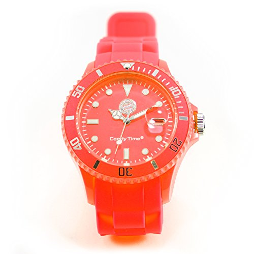 Armbanduhr Candy Time orange FC Bayern München + gratis Sticker, Analog Quarz Silikon, Unisex Uhr