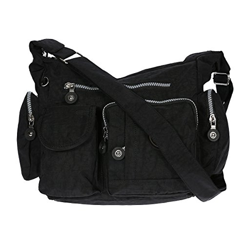 Damen Handtasche Crinkle Nylon Umhängetasche Schultertasche Tasche Shopper Bag Schwarz (Crinkle Handtasche Nylon)