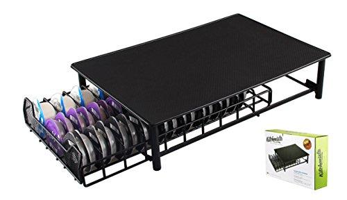 Tassimo Kaffee Kapselhalter - zur Aufbewahrung von 60 Kapseln in einem Stapelständer - Anti- Vibration, rutschfeste Oberfläche - Ständer mit netzförmigen Fächern - Tassimo Padhalter - schwarz
