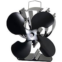 4-Hoja de calor ventilador estufa alimentada para madera/log/quemador chimenea aumenta un 80% más de aire caliente de 2 palas del ventilador- Eco friendly