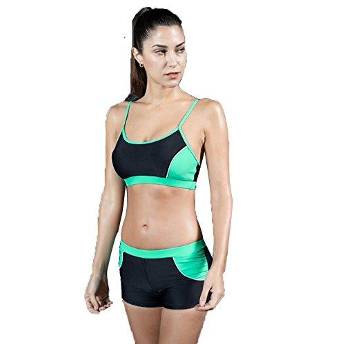 Frauen Farbigen Boyleg 2Piece Bikini set Bademode Badeanzug , black green , (Eine Einfach Frau Schwangere Kostüme)