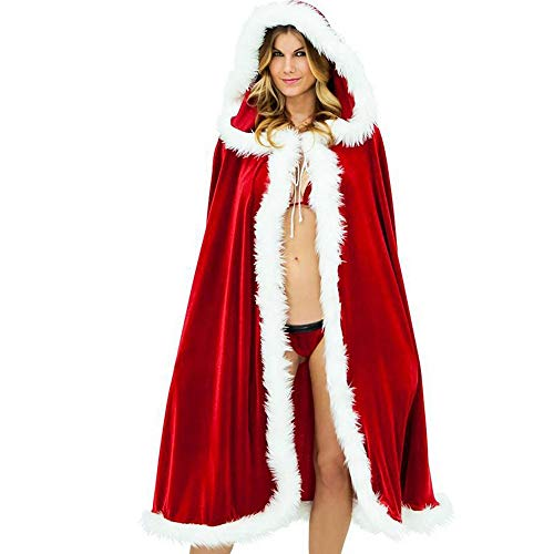 Club Mantel (Damen Dessous-Set in Raffiniertem Weihnachts-Design Weihnachten Frauen Plüsch Mantel Cap Kostüm Urlaubsparty Club Coat(XXXL,Rot))