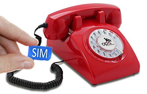 Opis Technology OPIS 60s MOBILE: móvil de sobremesa/teléfono fijo con sim/teléfono móvil para mayores/teléfono retro móvil con disco de marcar (rojo)