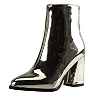 Women Boots Pointed Mirror Patent Leather Ankle Party Booties Ladies Shoes