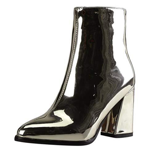 Shenye Damen Stiefel Spitz Leder Ankle Party Booties Damenschuhe Stiefeletten High Heels mit Blockabsatz Profilsohle Einfarbig Stiefeletten Boots -