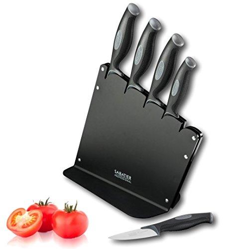 Sabatier Profi-L \'expertise Soft Touch 5?St?ck schr?ge Messerblock Set mit schwarz Acryl-Block und Messer mit schwarzem Griff