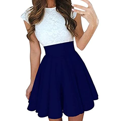 Femmes Jupes Patineuse Courte ,OverDose FêTe Sexy Cocktail Mini Taille Haute Solide Jupes Dames ÉTé Mini Skirt (FR:38, Bleu)