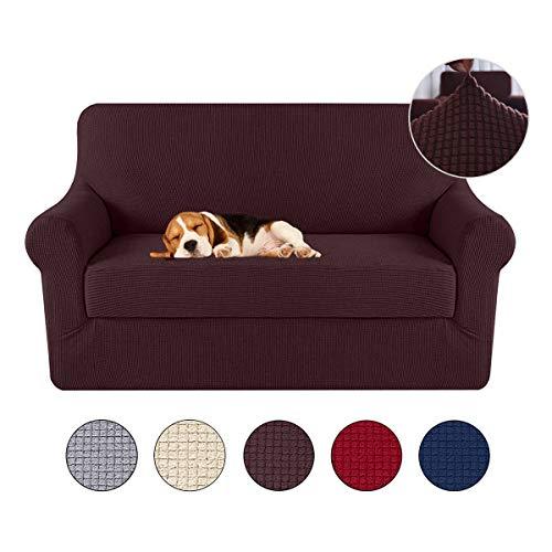 KOBWA Lujo Cubre para Silla Fundas de Sofa Protector de sofá o sillón, Funda de Sofá Antideslizante Anti-Sucio para Mascotas Protector de Sofá Muebles, 2 Plaza 39.7cm-175cm,Cafe Oscuro