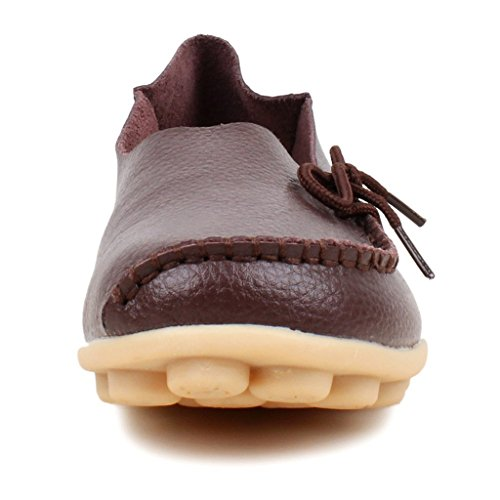 Oriskey Mocassins Femme Cuir Loafers Casual Bateau Chaussures de Ville Flats Marron