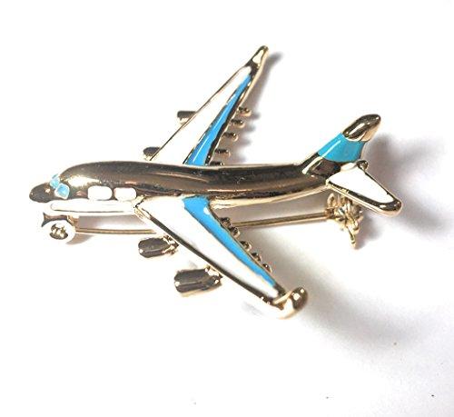FizzyButton Gifts Goldton Emaille Flugzeug Brosche, Abzeichen Schal pin