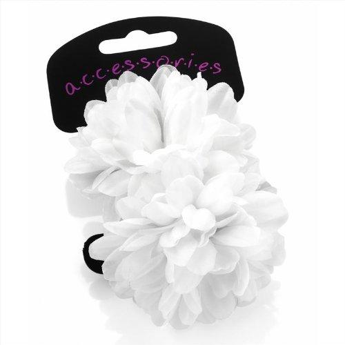 Haargummi mit Blume, Weiß, klein, verschiedene Farben erhältlich, 2er-Pack (Haargummi Weißer)