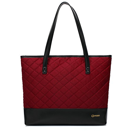 POSO Laptop-Tasche, 38,1-39,6 cm (15,6 Zoll), wasserabweisend, leicht, Laptop-Tasche für Business Arbeit Reisen (Weinrot)