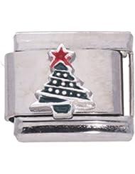 La cima–Abalorio en plata 925 diseño árbol de Navidad esmaltado para pulsera Nomination Abalorio italiano tamaño estándar