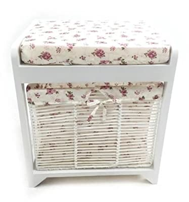 White Hallway Livingroom Dressing Table Bench Stool Padded Seat + Storage Basket