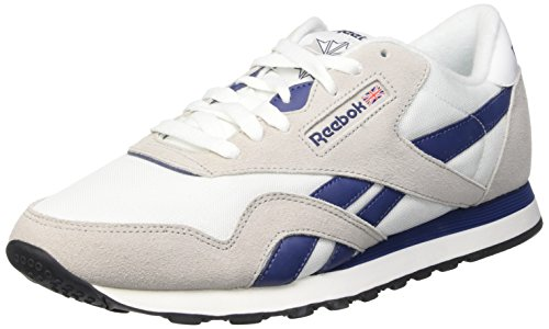 Reebok Cl Nylon Scarpe Low-Top, Uomo, Multicolore (White/Steel/Mdnghtbl), 43