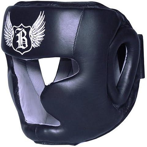 BooM Pro CUERO Boxeo Protector cabeza MMA Artes Marciales Sombreros y demás tocados - Negro, Small